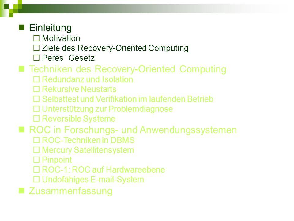 Einleitung Motivation Ziele des Recovery-Oriented Computing Peres` Gesetz Techniken des Recovery-Oriented Computing Redundanz und Isolation Rekursive Neustarts Selbsttest und Verifikation im laufenden Betrieb Unterstützung zur Problemdiagnose Reversible Systeme ROC in Forschungs- und Anwendungssystemen ROC-Techniken in DBMS Mercury Satellitensystem Pinpoint ROC-1: ROC auf Hardwareebene Undofähiges E-mail-System Zusammenfassung