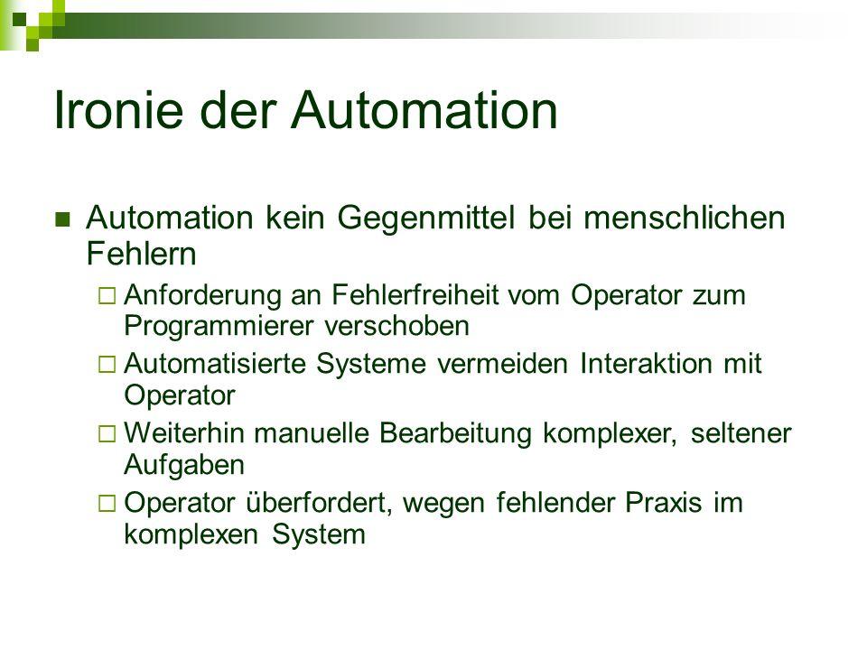 Ironie der Automation Automation kein Gegenmittel bei menschlichen Fehlern Anforderung an Fehlerfreiheit vom Operator zum Programmierer verschoben Automatisierte Systeme vermeiden Interaktion mit Operator Weiterhin manuelle Bearbeitung komplexer, seltener Aufgaben Operator überfordert, wegen fehlender Praxis im komplexen System