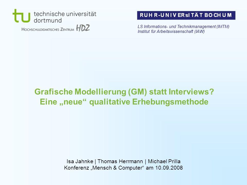 Grafische Modellierung (GM) statt Interviews? Eine neue qualitative Erhebungsmethode LS Informations- und Technikmanagement (IMTM) Institut für Arbeit