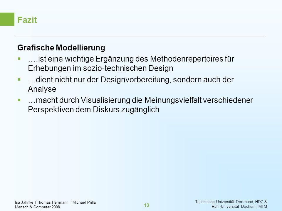 Isa Jahnke   Thomas Herrmann   Michael Prilla Mensch & Computer 2008 Technische Universität Dortmund, HDZ & Ruhr-Universität Bochum, IMTM 13 Fazit Gra
