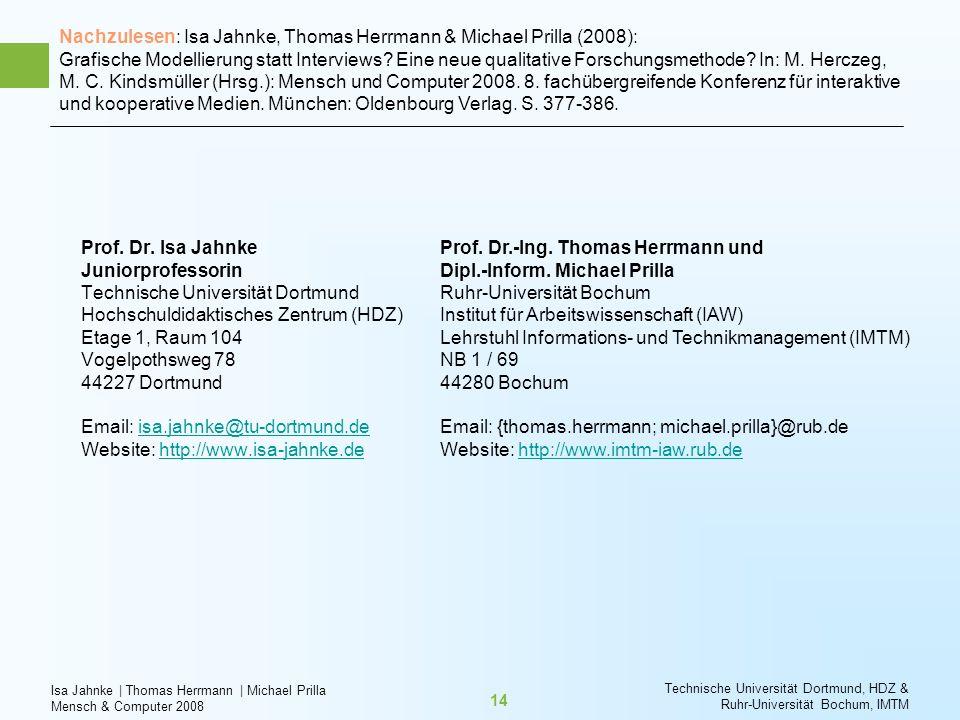 Isa Jahnke   Thomas Herrmann   Michael Prilla Mensch & Computer 2008 Technische Universität Dortmund, HDZ & Ruhr-Universität Bochum, IMTM 14 Prof. Dr.