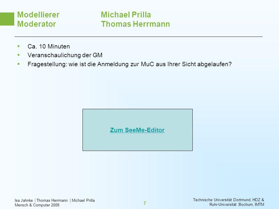 Isa Jahnke   Thomas Herrmann   Michael Prilla Mensch & Computer 2008 Technische Universität Dortmund, HDZ & Ruhr-Universität Bochum, IMTM 7 Modelliere