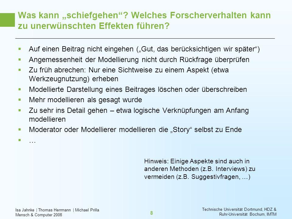 Isa Jahnke   Thomas Herrmann   Michael Prilla Mensch & Computer 2008 Technische Universität Dortmund, HDZ & Ruhr-Universität Bochum, IMTM 8 Was kann s