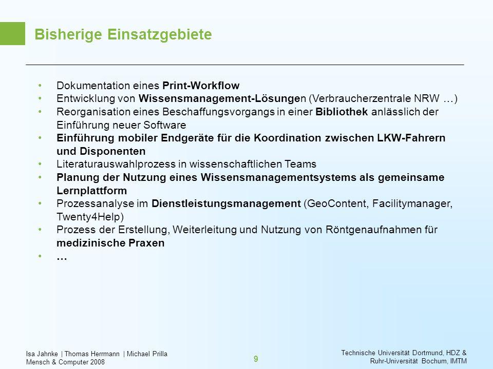 Isa Jahnke   Thomas Herrmann   Michael Prilla Mensch & Computer 2008 Technische Universität Dortmund, HDZ & Ruhr-Universität Bochum, IMTM 9 Bisherige