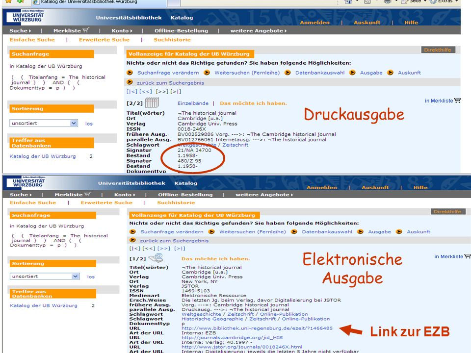 18.01.2014UB Würzburg14 Druckausgabe Elektronische Ausgabe Link zur EZB