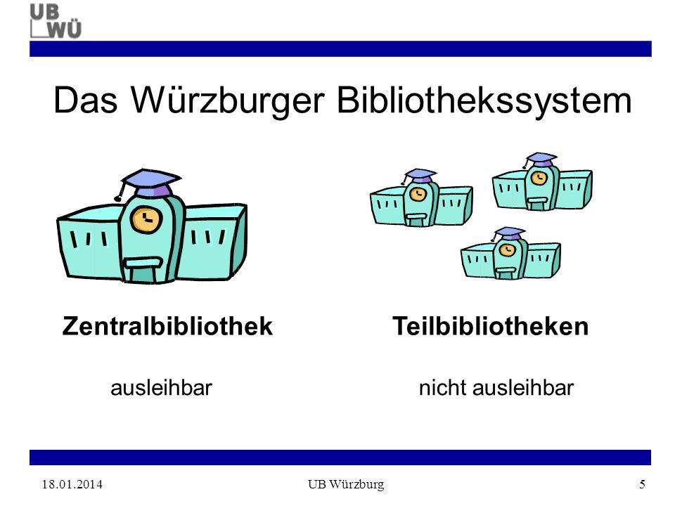 18.01.2014UB Würzburg5 Das Würzburger Bibliothekssystem ZentralbibliothekTeilbibliotheken ausleihbarnicht ausleihbar