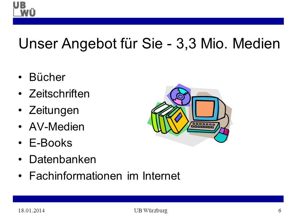 18.01.2014UB Würzburg6 Unser Angebot für Sie - 3,3 Mio.