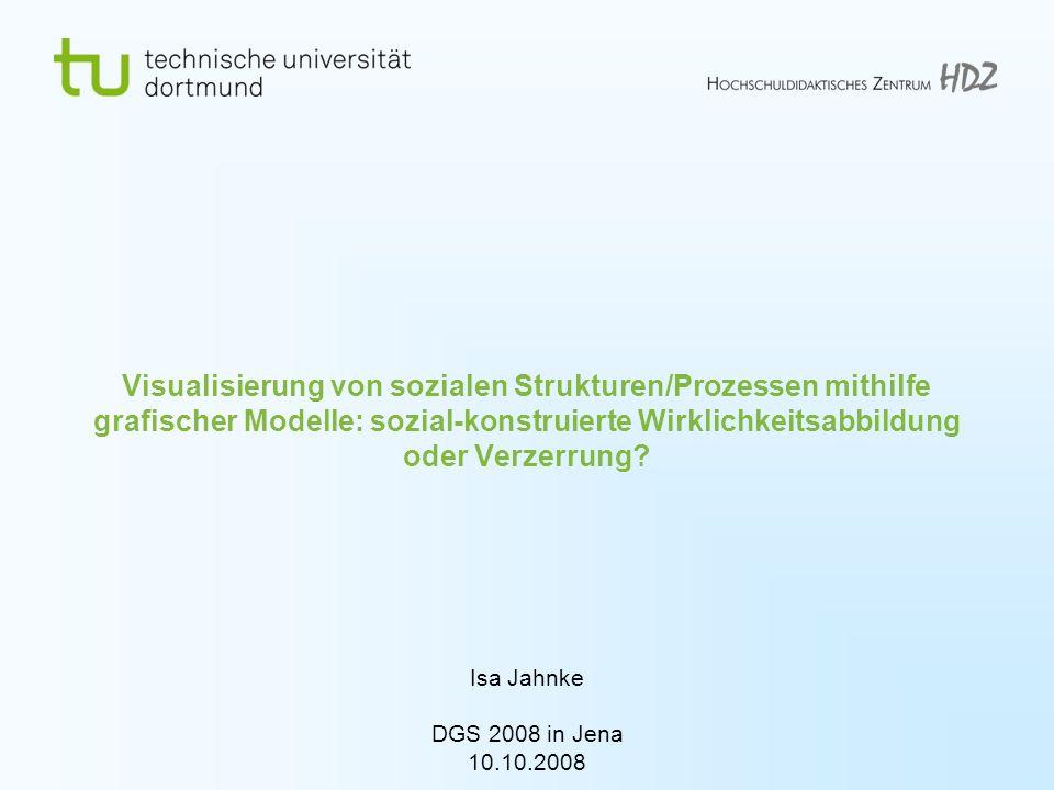 Isa Jahnke DGS 2008, Jena Technische Universität Dortmund Hochschuldidaktisches Zentrum 2 Forschungsfragen 1.Wie und unter welchen Bedingungen werden Visualisierungs-/Modellierungstechniken zur Erstellung von grafischen Modellen eingesetzt.
