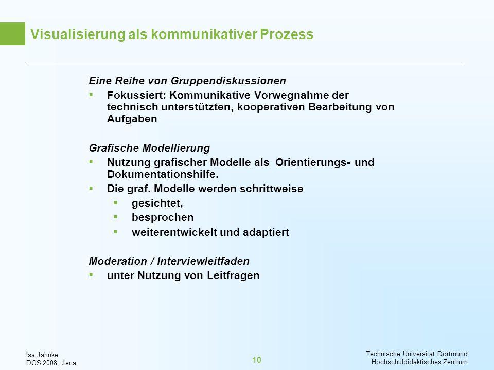 Isa Jahnke DGS 2008, Jena Technische Universität Dortmund Hochschuldidaktisches Zentrum 10 Visualisierung als kommunikativer Prozess Eine Reihe von Gr