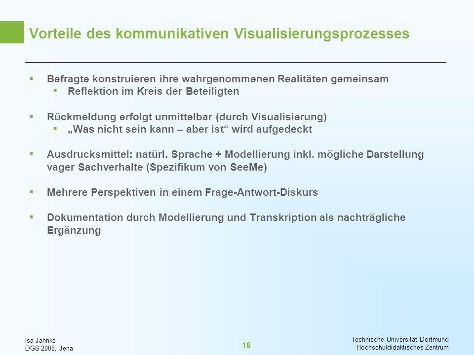 Isa Jahnke DGS 2008, Jena Technische Universität Dortmund Hochschuldidaktisches Zentrum 18 Vorteile des kommunikativen Visualisierungsprozesses Befrag