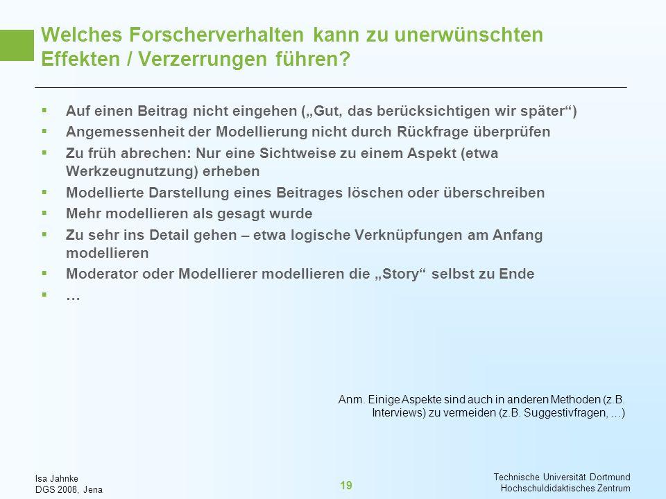 Isa Jahnke DGS 2008, Jena Technische Universität Dortmund Hochschuldidaktisches Zentrum 19 Welches Forscherverhalten kann zu unerwünschten Effekten /