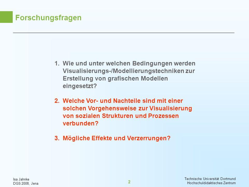 Isa Jahnke DGS 2008, Jena Technische Universität Dortmund Hochschuldidaktisches Zentrum 2 Forschungsfragen 1.Wie und unter welchen Bedingungen werden