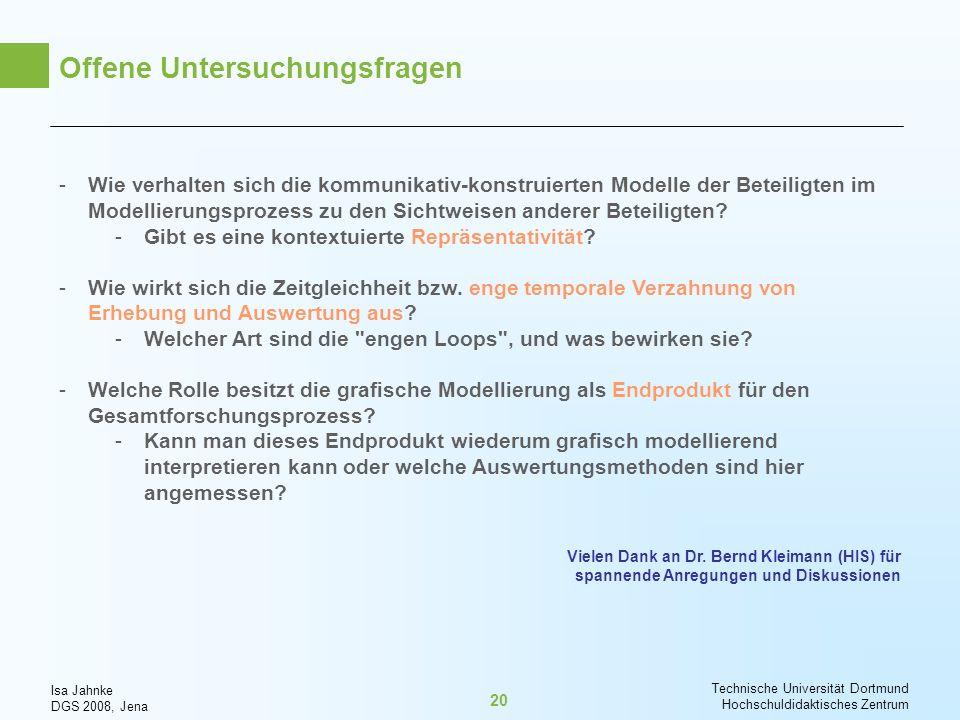 Isa Jahnke DGS 2008, Jena Technische Universität Dortmund Hochschuldidaktisches Zentrum 20 Offene Untersuchungsfragen -Wie verhalten sich die kommunik
