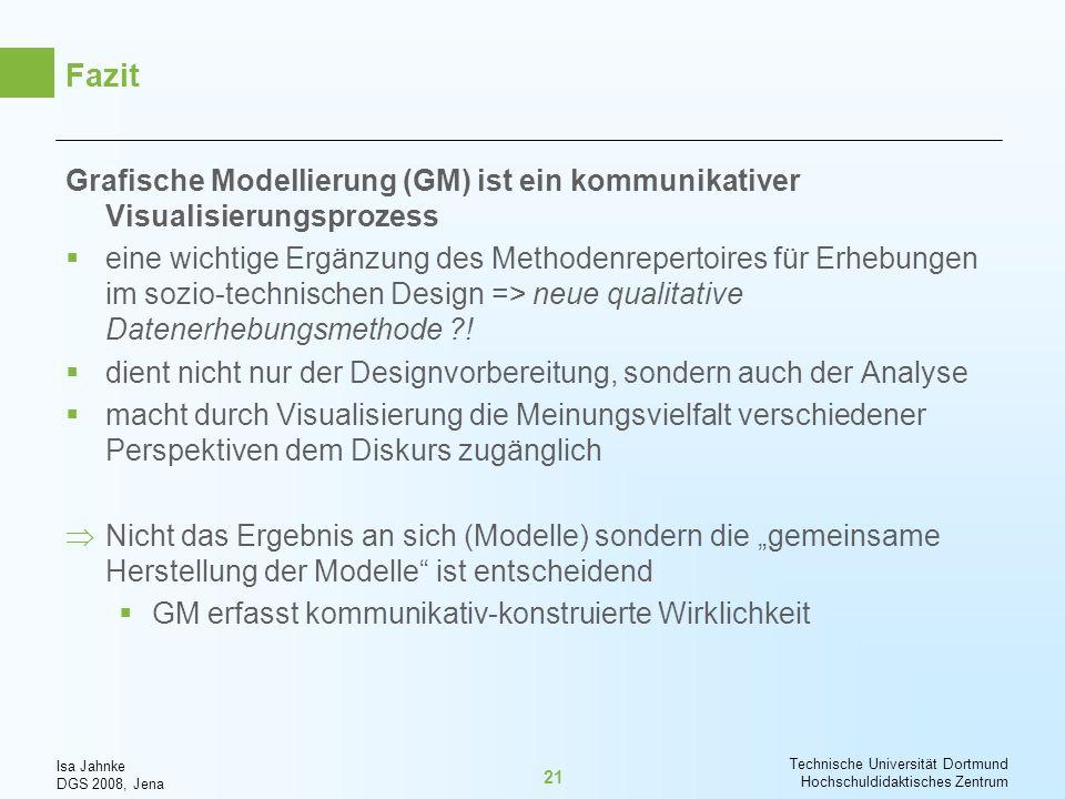 Isa Jahnke DGS 2008, Jena Technische Universität Dortmund Hochschuldidaktisches Zentrum 21 Fazit Grafische Modellierung (GM) ist ein kommunikativer Vi