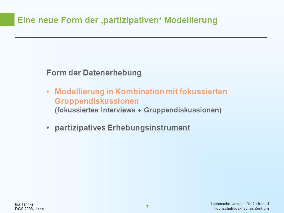 Isa Jahnke DGS 2008, Jena Technische Universität Dortmund Hochschuldidaktisches Zentrum 7 Eine neue Form der partizipativen Modellierung Form der Date