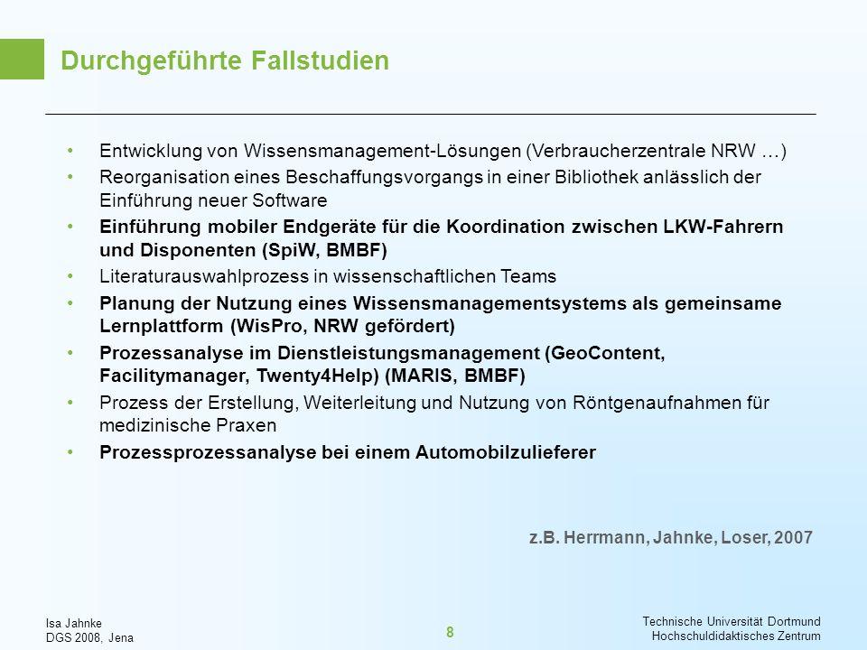 Isa Jahnke DGS 2008, Jena Technische Universität Dortmund Hochschuldidaktisches Zentrum 19 Welches Forscherverhalten kann zu unerwünschten Effekten / Verzerrungen führen.