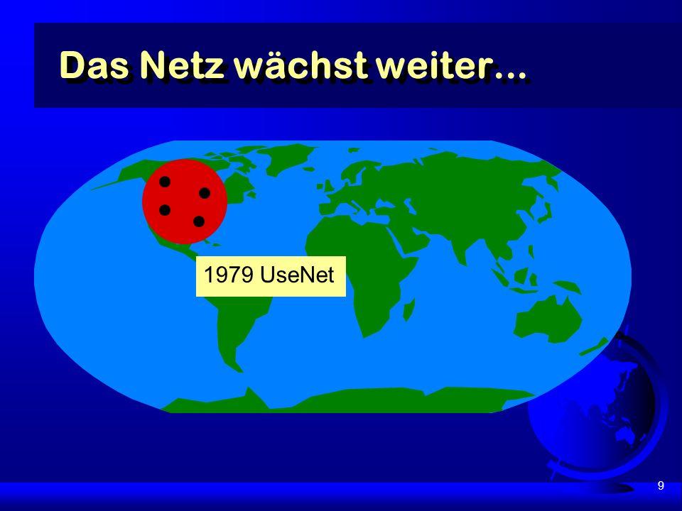 9 Das Netz wächst weiter... 1979 UseNet