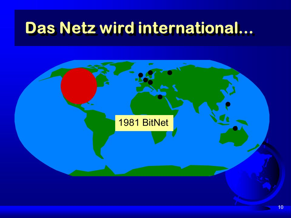 10 Das Netz wird international... 1981 BitNet