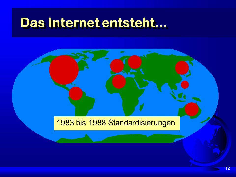12 Das Internet entsteht... 1983 bis 1988 Standardisierungen