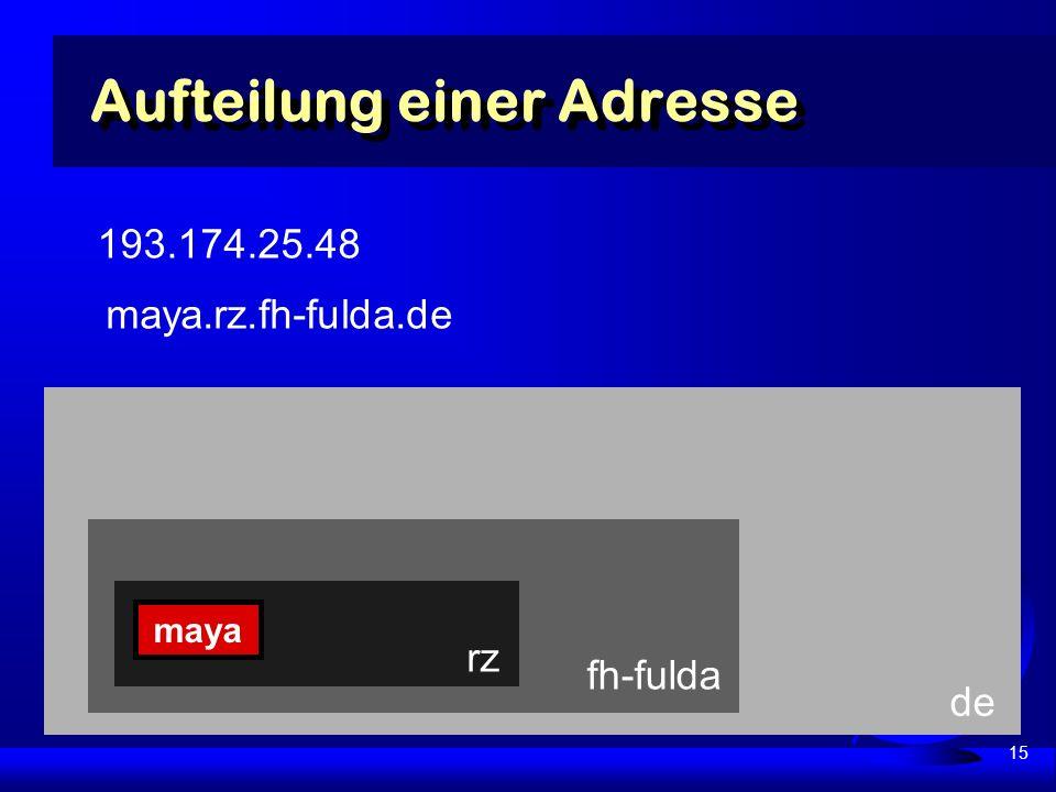 15 de fh-fulda Aufteilung einer Adresse rz maya 193.174.25.48 maya.rz.fh-fulda.de