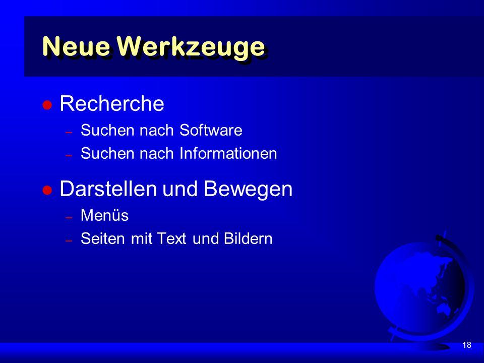 18 Neue Werkzeuge Recherche – Suchen nach Software – Suchen nach Informationen Darstellen und Bewegen – Menüs – Seiten mit Text und Bildern