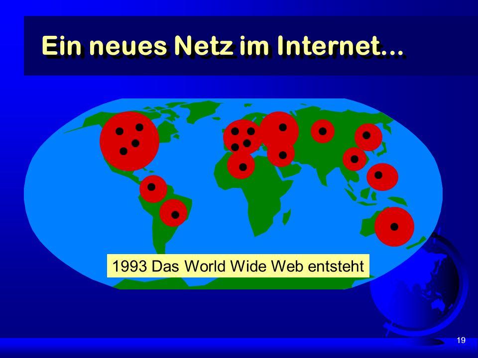 19 Ein neues Netz im Internet... 1993 Das World Wide Web entsteht