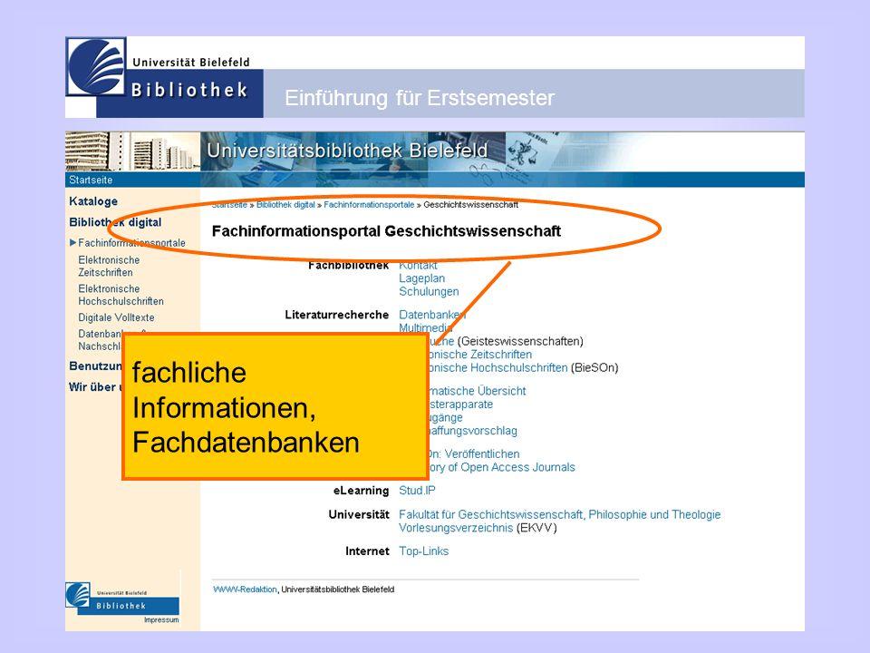 Einführung für Erstsemester fachliche Informationen, Fachdatenbanken