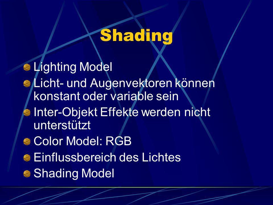 Shading – Lighting Model Das Lighting Model besitzt drei Vektoren: Surface Normale(N) Lichtrichtung(L) Betrachtungsrichtung(E) (Quelle: Java 3D Tutorial von Sun)
