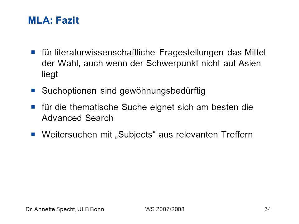 33Dr. Annette Specht, ULB Bonn WS 2007/2008 MLA: Beispielsuche I Variante 2: Direkter Link zum Volltext