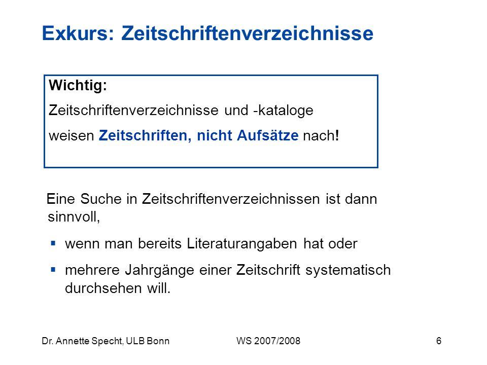5Dr. Annette Specht, ULB Bonn WS 2007/2008 eBibliothek: Orient- und Asienwissenschaften Elektronische Zeitschriften