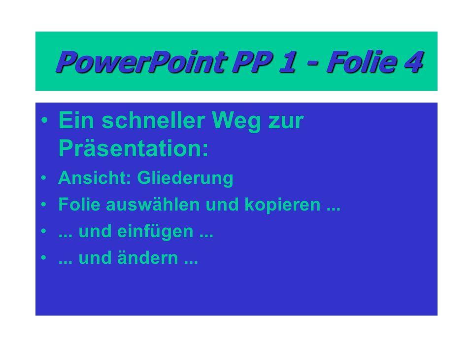 PowerPoint PP 1 - Folie 4 Ein schneller Weg zur Präsentation: Ansicht: Gliederung Folie auswählen und kopieren......