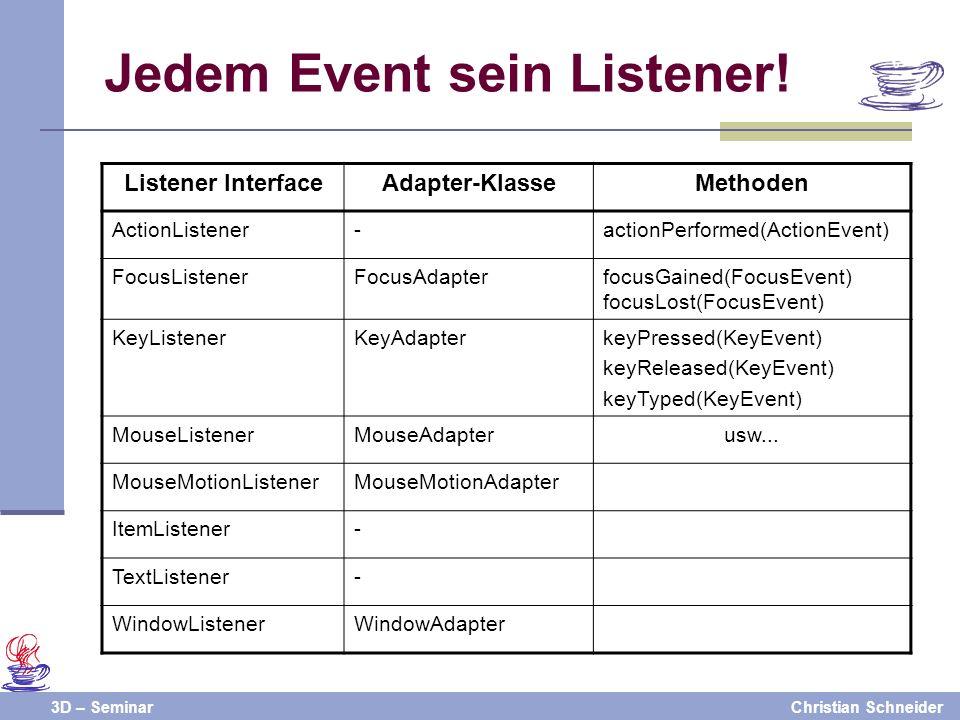 3D – SeminarChristian Schneider Jedem Event sein Listener! Listener InterfaceAdapter-KlasseMethoden ActionListener-actionPerformed(ActionEvent) FocusL