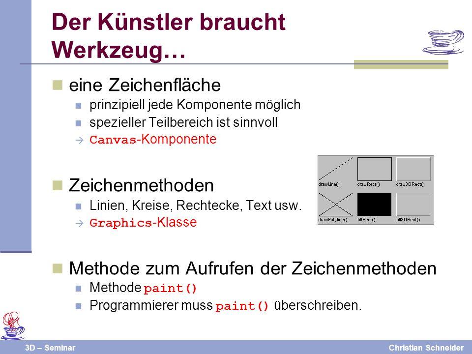 3D – SeminarChristian Schneider Der Künstler braucht Werkzeug… eine Zeichenfläche prinzipiell jede Komponente möglich spezieller Teilbereich ist sinnv