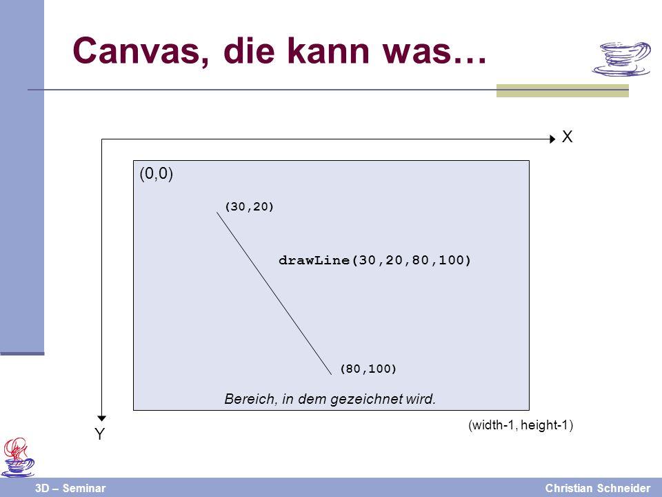 3D – SeminarChristian Schneider Canvas, die kann was… Bereich, in dem gezeichnet wird. (0,0) Y X (width-1, height-1) drawLine(30,20,80,100) (30,20) (8