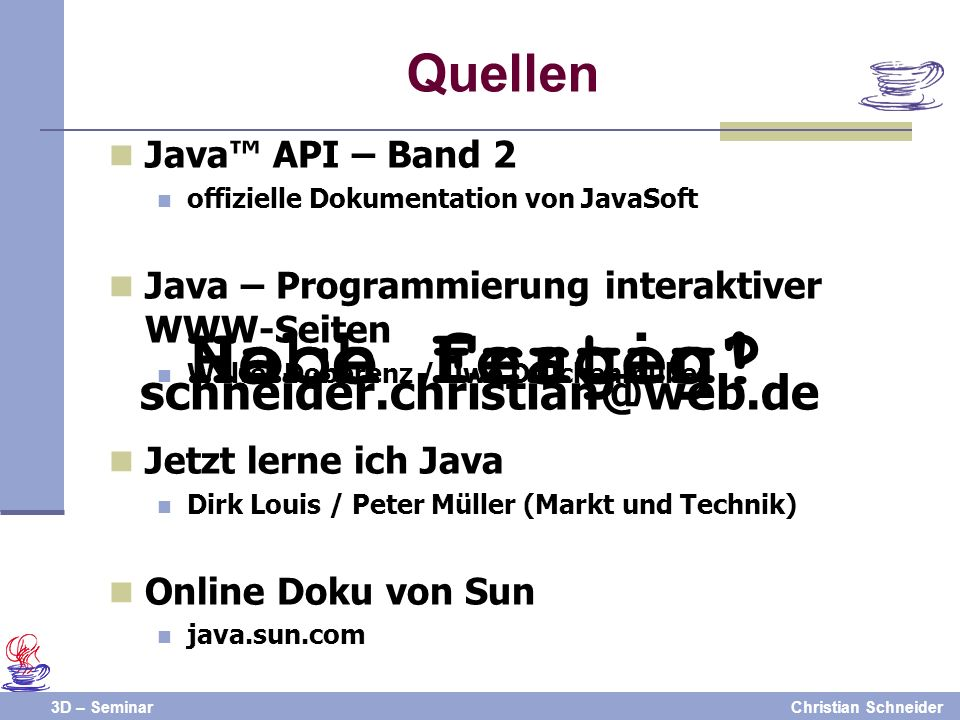 3D – SeminarChristian Schneider Noch Fragen Habe fertig.