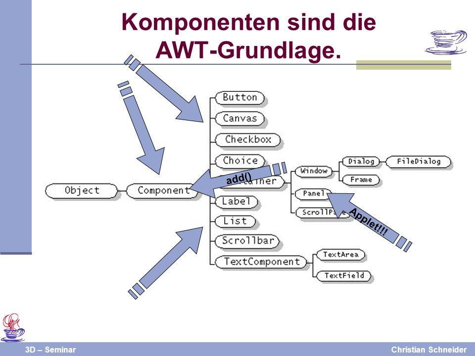 3D – SeminarChristian Schneider Komponenten sind die AWT-Grundlage. Applet!!! add()