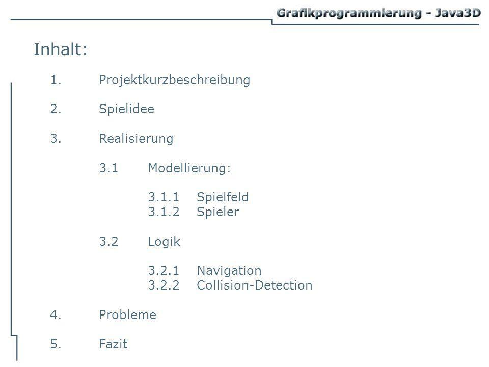Inhalt: 1.Projektkurzbeschreibung 2.Spielidee 3.Realisierung 3.1Modellierung: 3.1.1Spielfeld 3.1.2Spieler 3.2Logik 3.2.1Navigation 3.2.2Collision-Detection 4.Probleme 5.Fazit