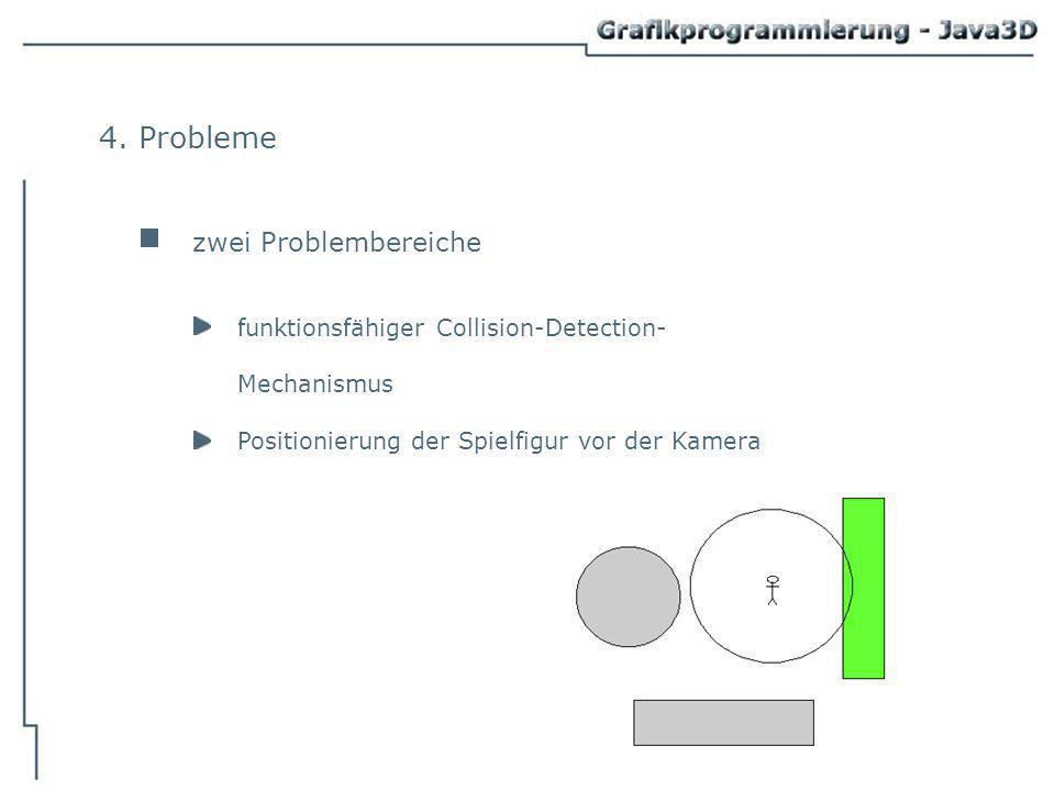 4. Probleme zwei Problembereiche funktionsfähiger Collision-Detection- Mechanismus Positionierung der Spielfigur vor der Kamera