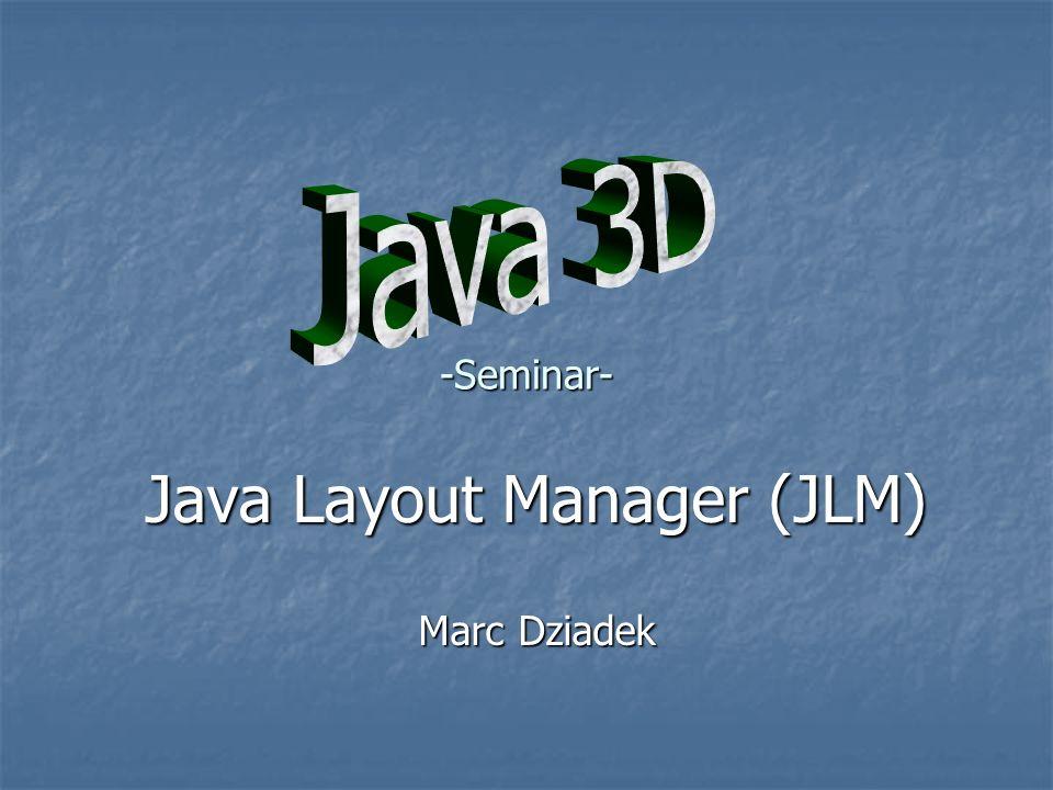 Begriffsdefinition Oberfläche Oberfläche Container für Dialogelemente Container für Dialogelemente Registrierung der Layout-Manager Registrierung der Layout-Manager Komponente Komponente Java-Objekte die auf einer Oberfläche registriert werden können Java-Objekte die auf einer Oberfläche registriert werden können Anmerkung Anmerkung Oberflächen können auch Komponenten sein Oberflächen können auch Komponenten sein
