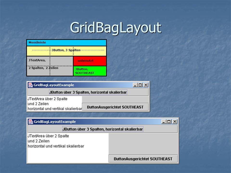 GridBagLayout Menüleiste --------------JButton, 3 Spalten----------------- unbenutzt JTextArea, 2 Spalten, 2 Zeilen JButton, SOUTHEAST