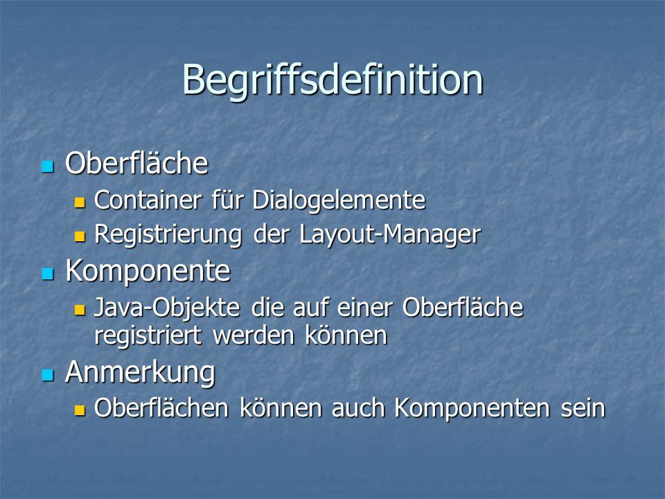 Gründe für Layout Manager Standart: Feste Anordnung der Elemente Standart: Feste Anordnung der Elemente Java plattformunabhängig Java plattformunabhängig Unterschiedliche Betriebssysteme Unterschiedliche Betriebssysteme Unterschiedliche Ausgabegeräte Unterschiedliche Ausgabegeräte Unterschiedliche Elementgröße Unterschiedliche Elementgröße Verzerrtes Layout Verzerrtes Layout