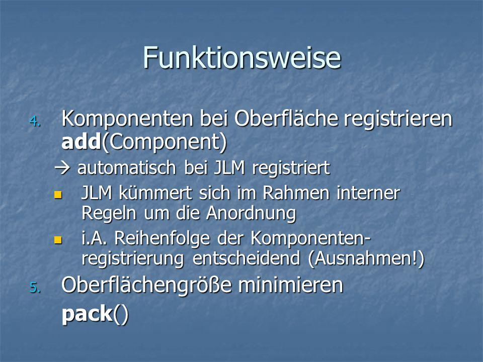 Funktionsweise 4. Komponenten bei Oberfläche registrieren add(Component) automatisch bei JLM registriert automatisch bei JLM registriert JLM kümmert s