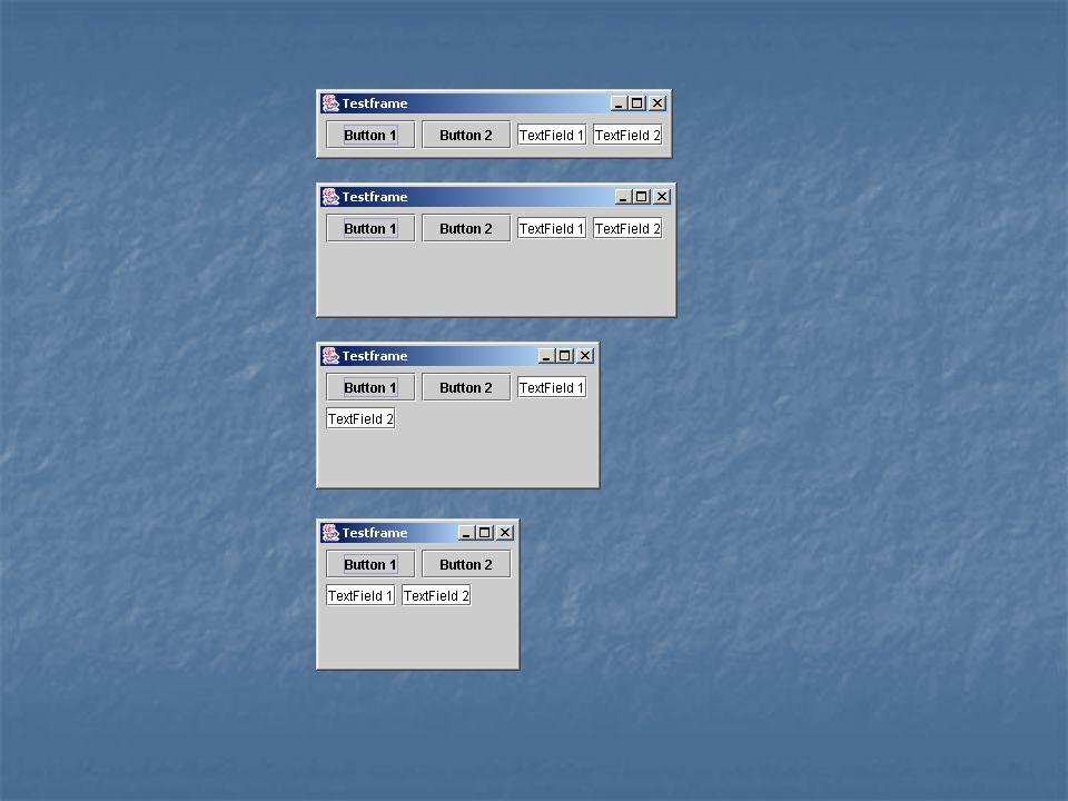 Flow-Layout einfachster Layoutmanager einfachster Layoutmanager Ordnet die Elemente hintereinander an (Kette) Ordnet die Elemente hintereinander an (Kette) public FlowLayout(int align, int hgap, int vgap) public FlowLayout(int align, int hgap, int vgap)