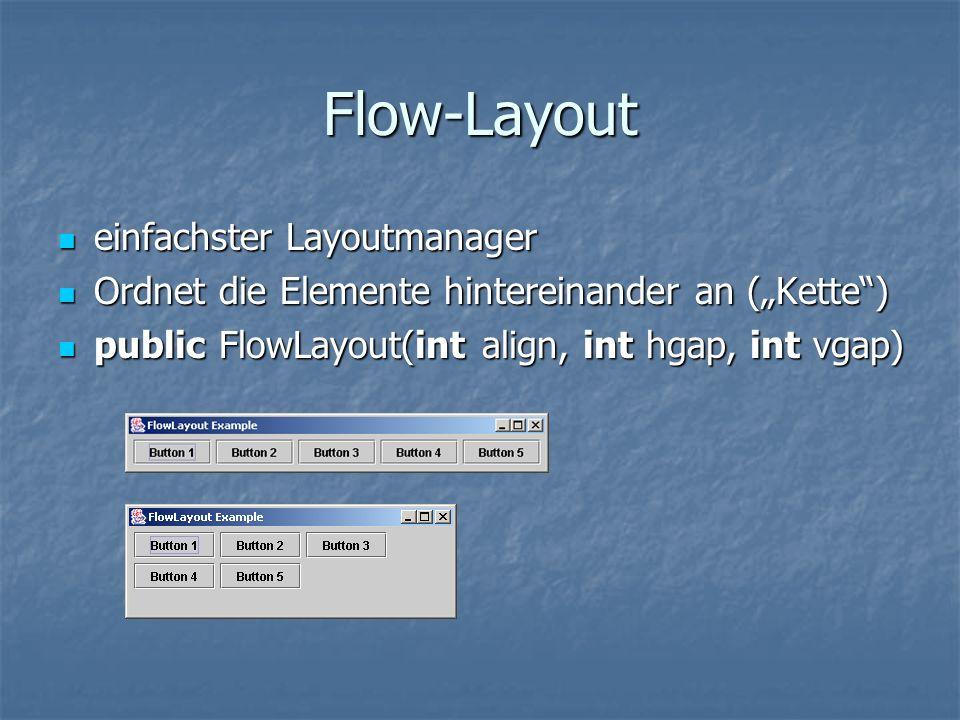 Flow-Layout einfachster Layoutmanager einfachster Layoutmanager Ordnet die Elemente hintereinander an (Kette) Ordnet die Elemente hintereinander an (K