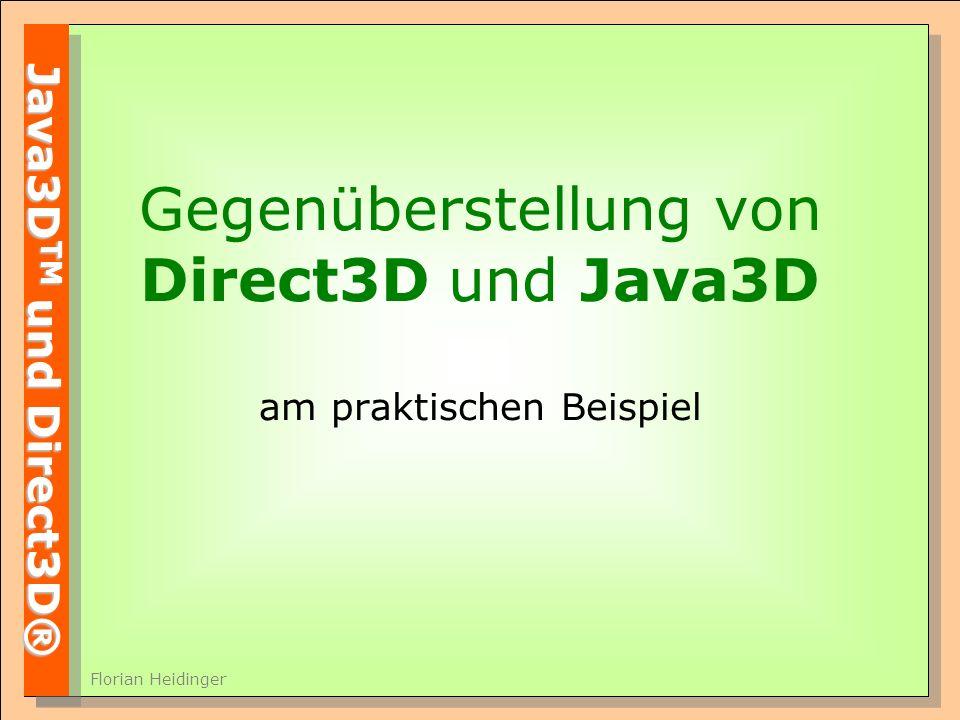 Java3D TM und Direct3D® Florian Heidinger Gegenüberstellung von Direct3D und Java3D am praktischen Beispiel