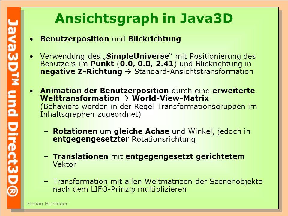 Java3D TM und Direct3D® Florian Heidinger Ansichtsgraph in Java3D Benutzerposition und Blickrichtung Verwendung des SimpleUniverse mit Positionierung des Benutzers im Punkt (0.0, 0.0, 2.41) und Blickrichtung in negative Z-Richtung Standard-Ansichtstransformation Animation der Benutzerposition durch eine erweiterte Welttransformation World-View-Matrix (Behaviors werden in der Regel Transformationsgruppen im Inhaltsgraphen zugeordnet) –Rotationen um gleiche Achse und Winkel, jedoch in entgegengesetzter Rotationsrichtung –Translationen mit entgegengesetzt gerichtetem Vektor –Transformation mit allen Weltmatrizen der Szenenobjekte nach dem LIFO-Prinzip multiplizieren