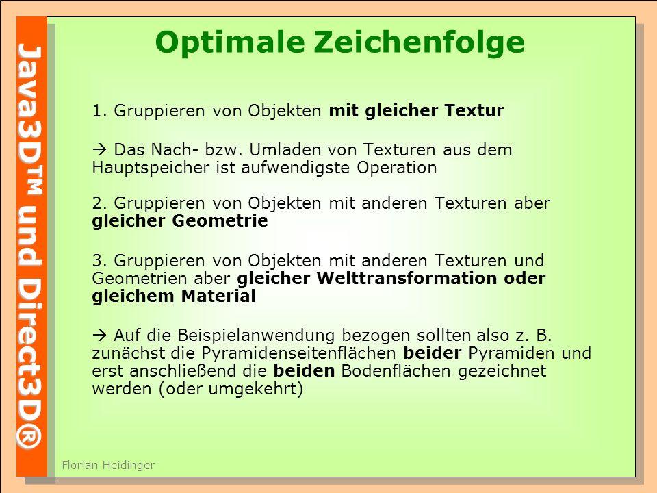 Java3D TM und Direct3D® Florian Heidinger Optimale Zeichenfolge 1.