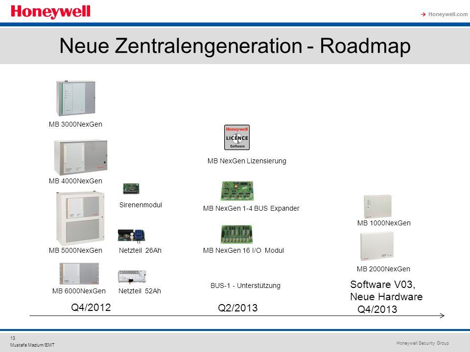 Honeywell Security Group Honeywell.com 13 Mustafa Mazlum/EMT Neue Zentralengeneration - Roadmap Q4/2012 Q2/2013 Q4/2013 MB 3000NexGen MB 4000NexGen MB