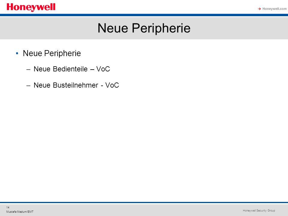 Honeywell Security Group Honeywell.com 14 Mustafa Mazlum/EMT Neue Peripherie –Neue Bedienteile – VoC –Neue Busteilnehmer - VoC