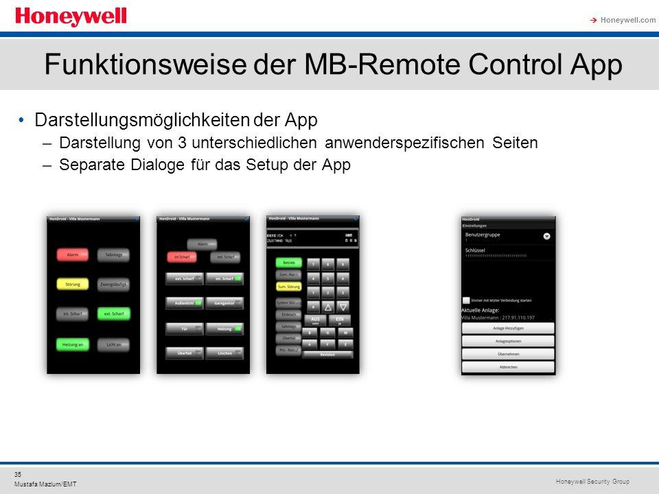 Honeywell Security Group Honeywell.com 35 Mustafa Mazlum/EMT Funktionsweise der MB-Remote Control App Darstellungsmöglichkeiten der App –Darstellung v